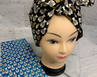 Christian Robinson Spectacle Fish Friends - Blue or Black Gold - Pin Up Style Wide Head Scarf - Hair Wrap - Cotton - Aloha Print - Hawaiian