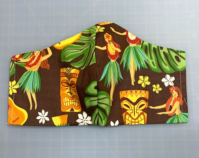 Hula Girl Dancers and Tikis - Face Masks - 100% Cotton - Washable With Filter Pockets - Nose Wire - Ties or Elastic
