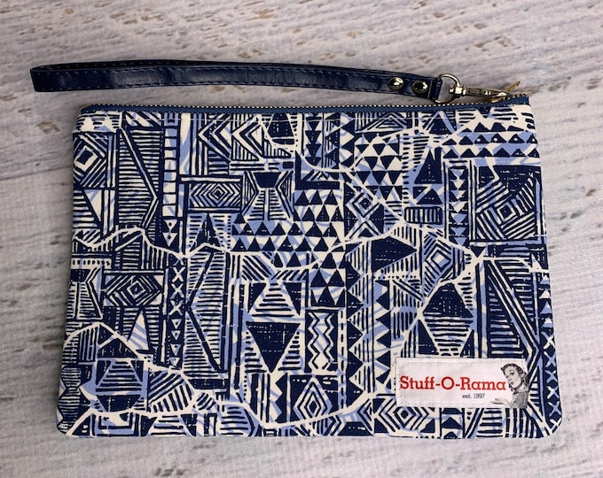 Navy Blue Tapa Cloth - Hawaiian Aloha Print - Clutch Wallet Wristlet