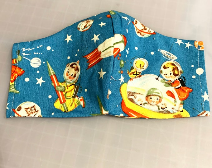 Retro Space Kids - Face Masks - 100% Cotton - Washable With Filter Pockets - Nose Wire - Ties or Elastic