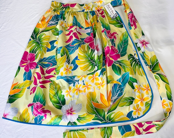 Half Apron - Vintage Pin Up Skirt Style - Yellow Pink Hibiscus Tropical Flowers
