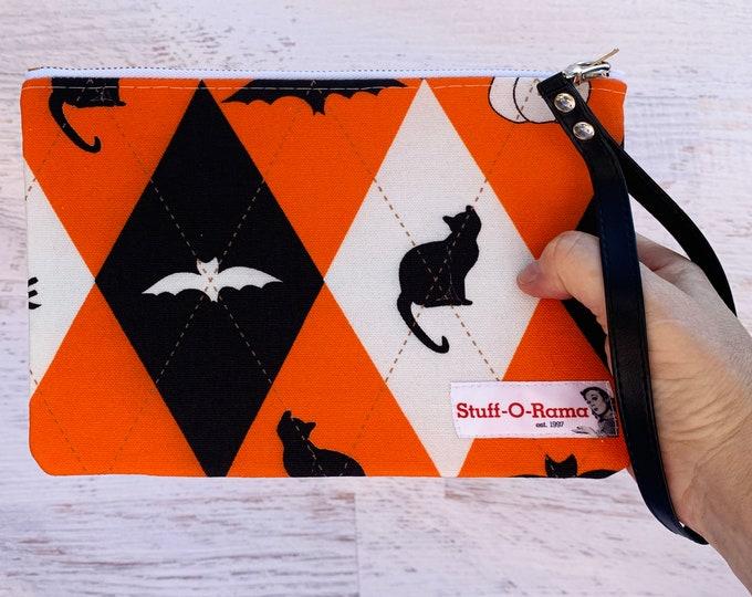 Everyday Is Halloween - Clutch Wallet Wristlet - Retro Vintage Style - Argyle - Bat - Black Cat - Spider - Ghost - Pumpkin