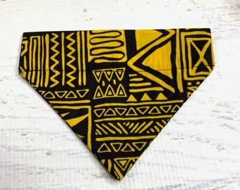 Black Yellow Tapa- Dog Cat Bandanna - Over the Collar - Tropical - Aloha Print - Sizes XS through XL - Dog Accessories - Neckwear
