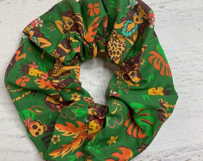 Tiki Temptress by Miss Fluff - Elastic Hair Tie - Fabric - Wide Width - Oversize - Scrunchie style - Disneybound - MCM - Retro - Vintage