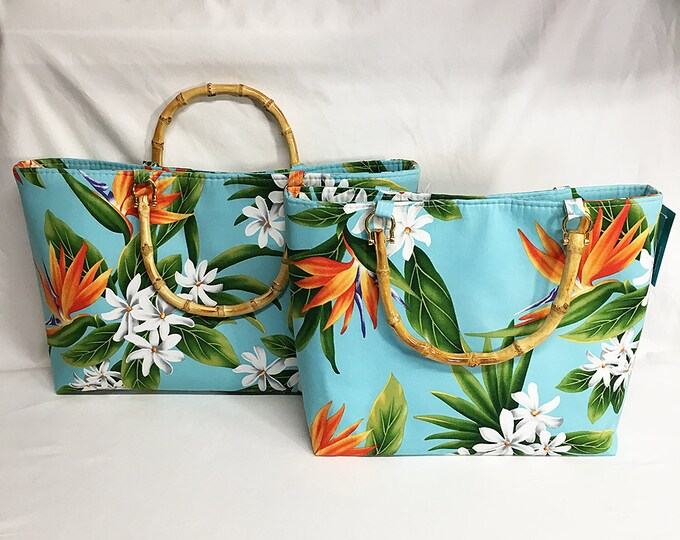 Handbag - Blue Bird of Paradise Plumeria