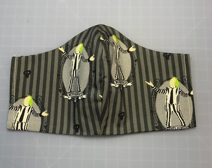 Beetlejuice - Halloween - Face Mask Coverings - 100% Cotton - Washable With Filter Pockets - Nose Wire - Ties or Elastic
