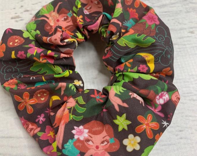 Hula Cuties by Miss Fluff - Elastic Hair Tie - Fabric - Wide Width - Oversize - Scrunchie style - Disneybound - MCM - Retro - Vintage - Tiki
