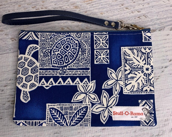 Honu Turtle Tapa Cloth - Navy - Hawaiian Aloha Print - Clutch Wallet Wristlet