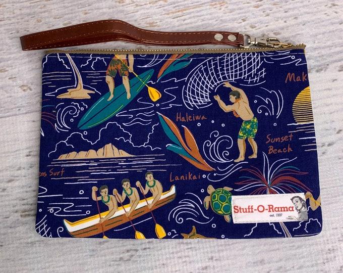 Hawaiian Tropical Outrigger Surfer Waterman - Hawaiian Aloha Print - Clutch Wallet Wristlet
