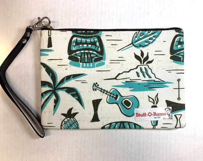 Wristlet Zipper Pouch Clutch Purse - Tropical Tiki
