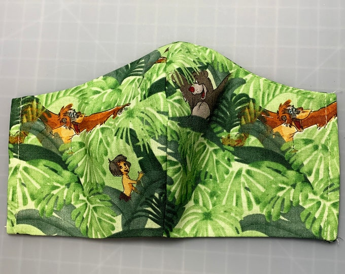Jungle Book - Face Mask Coverings - 100% Cotton - Washable With Filter Pockets - Nose Wire - Ties or Elastic