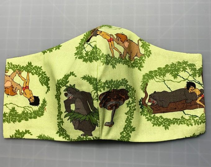 Jungle Book - Squares - Face Mask Coverings - 100% Cotton - Washable With Filter Pockets - Nose Wire - Ties or Elastic
