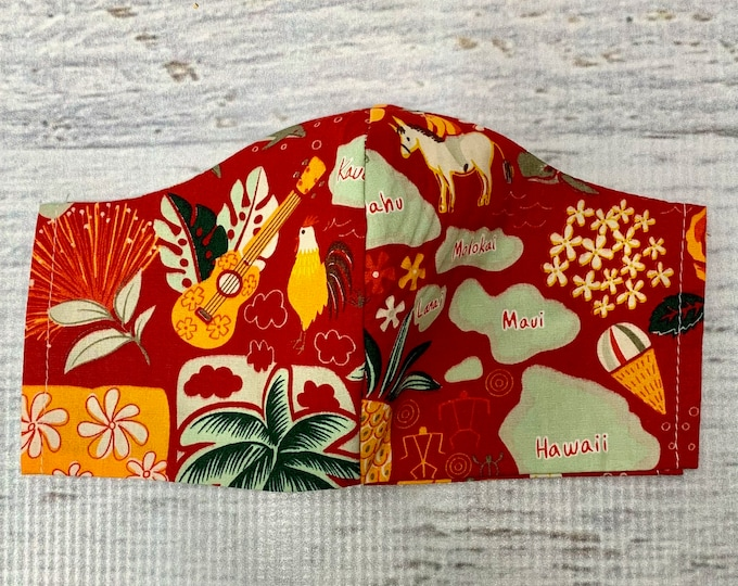 Red Hawaiian Islands Icons - Face Masks - 100% Cotton - Washable With Filter Pockets - Nose Wire - Ties or Elastic