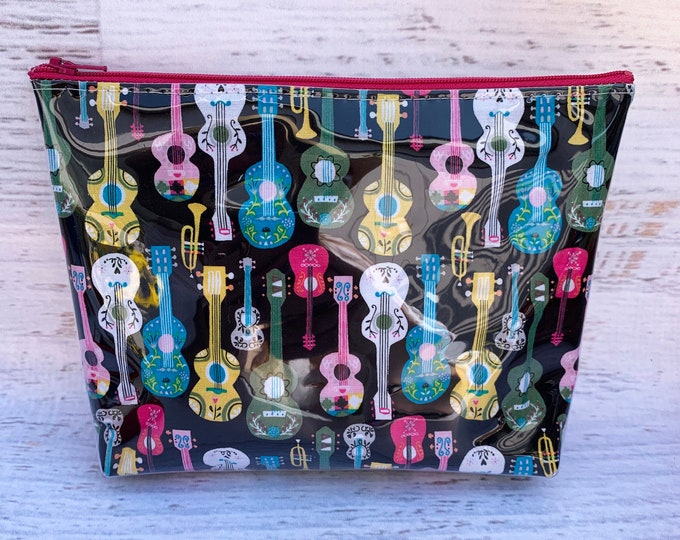 Guitarras de México - Black Acoustic Guitar - Make Up Bag