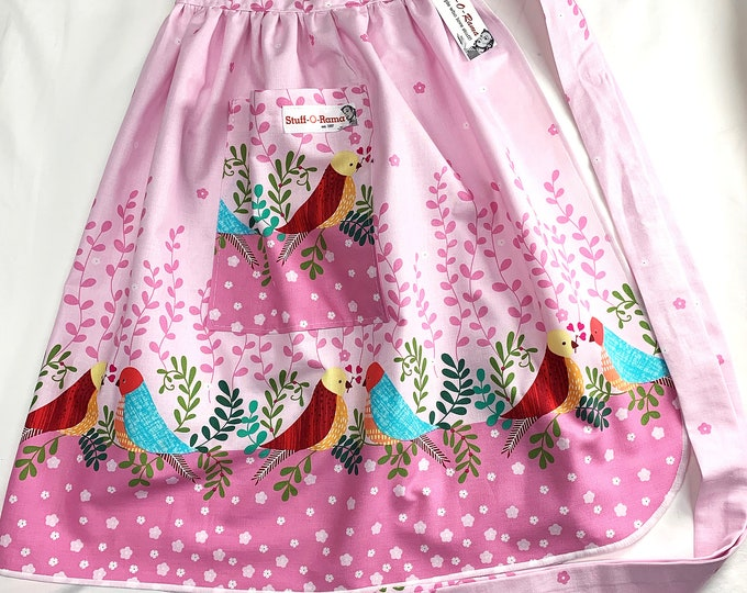 Half Apron - Vintage Pin Up Skirt Style - Love Birds