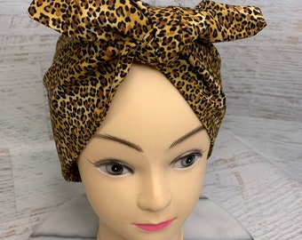 Leopard Print - Pin Up Style Wide Head Scarf - Hair Wrap - Cotton - Aloha Print - Hawaiian Print - Tropical Print - Retro Vintage