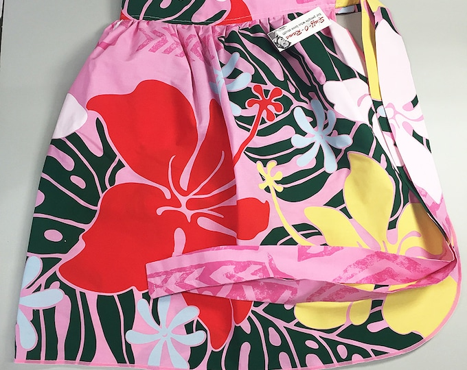Half Apron - Vintage Pin Up Skirt Style - Pink Hawaiian