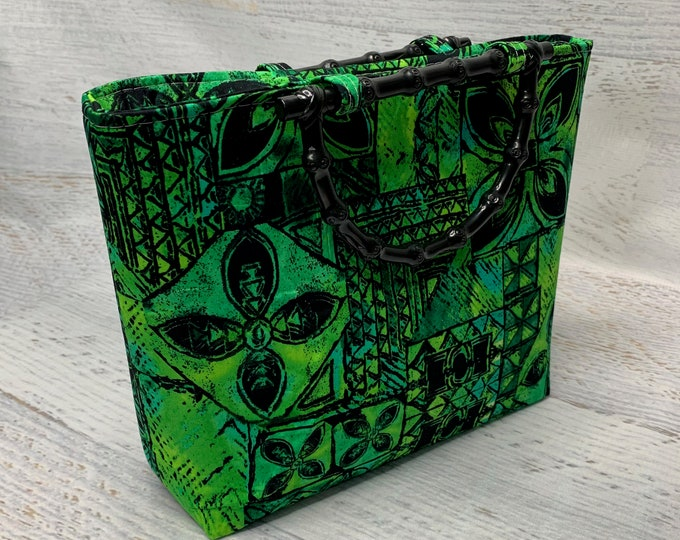 Blue Green Tapa Cloth - Tote Bag - Purse - Handbag
