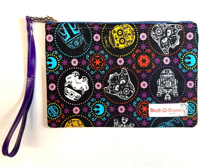 Wristlet Zipper Pouch Clutch Purse - Dia de los Star Wars