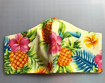 Pink Hibiscus and Pineapples - Face Mask Coverings - 100% Cotton - Washable With Filter Pockets - Nose Wire - Ties or Elastic