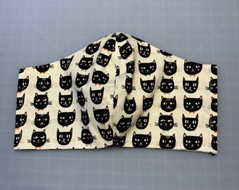 Black Cats - Halloween - Face Mask Coverings - 100% Cotton - Washable With Filter Pockets - Nose Wire - Ties or Elastic