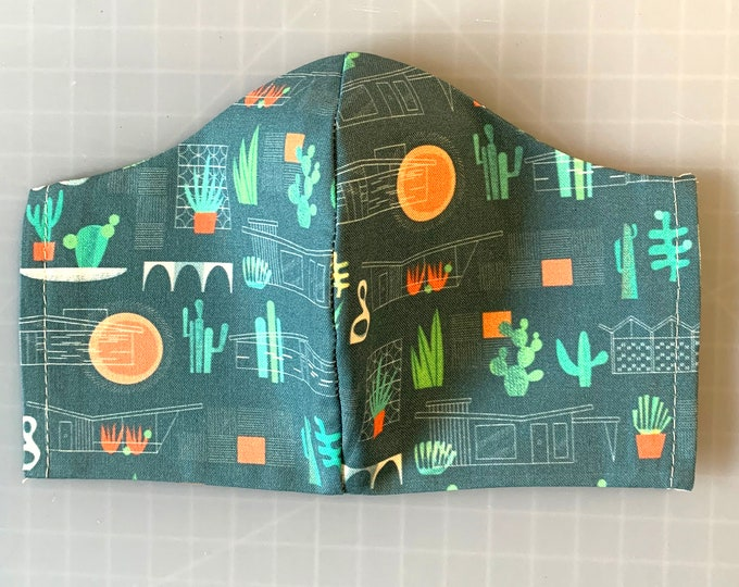 Palm Springs Desert - MidCentury Modern - Face Mask Coverings - 100% Cotton - Washable With Filter Pockets - Nose Wire - Ties or Elastic