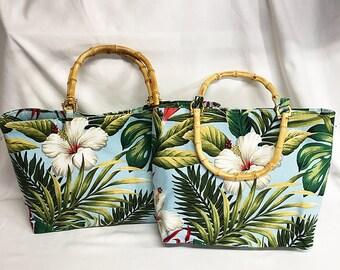 Handbag - Hibiscus Garden Sky Kahala Barkcloth