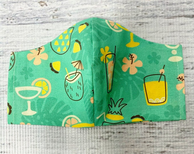 Pineapple Sips Cocktails  - Face Masks - 100% Cotton - Washable With Filter Pockets - Nose Wire - Ties or Elastic
