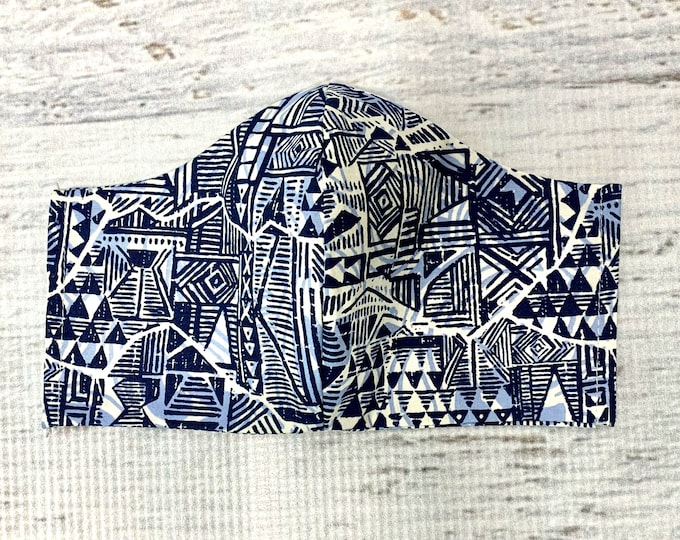 Tapa Cloth - Blue White Brown - Face Mask Coverings - 100% Cotton - Washable With Filter Pockets - Nose Wire - Ties or Elastic
