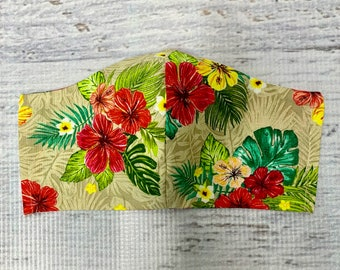 Tropical Print Hibiscus Flowers - Face Mask Coverings - 100% Cotton - Washable With Filter Pockets - Nose Wire - Ties or Elastic