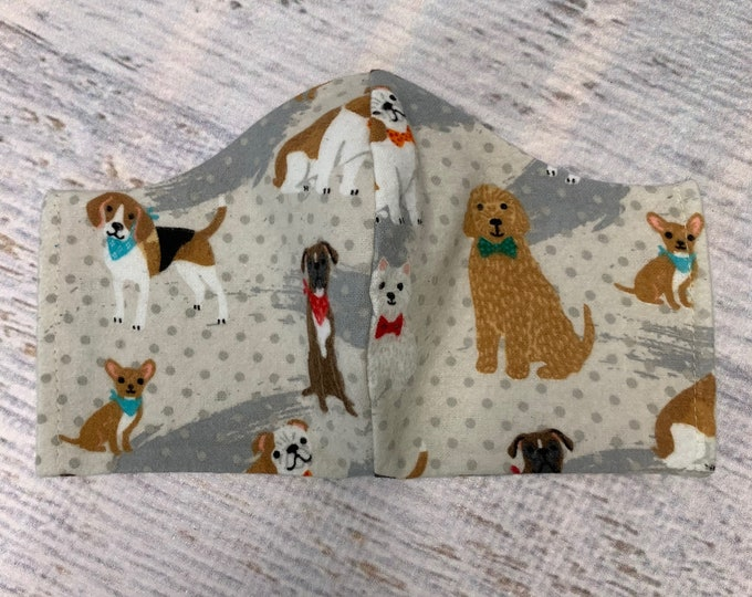 FLANNEL Face Mask Coverings - Dogs Dogs Dogs - 100% Cotton - Washable With Filter Pockets - Nose Wire - Ties or Elastic