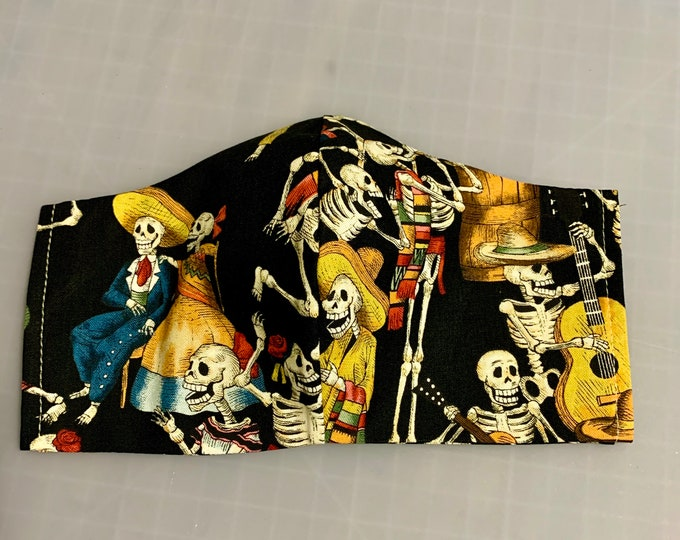 Day of the Dead - Face Masks - 100% Cotton - Washable With Filter Pockets - Nose Wire