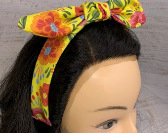 Las Flores de Mexico - Pin Up Style Tie Knot Headband with Removable Bow - Hair Wrap - Cotton - Aloha Print - Hawaiian - Tropical - Retro