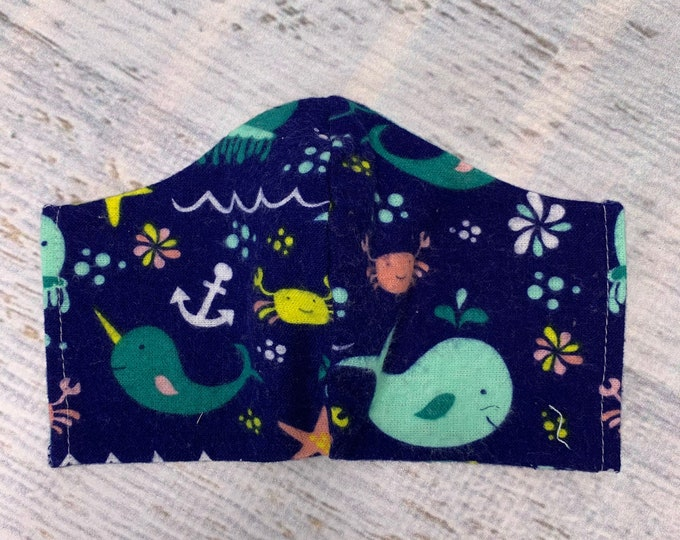 FLANNEL Face Mask Coverings - Sea Creatures - 100% Cotton - Washable With Filter Pockets - Nose Wire - Ties or Elastic
