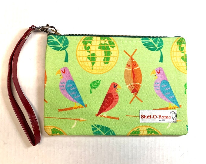 Wristlet Zipper Pouch Clutch Purse - Mid Century Adventureland