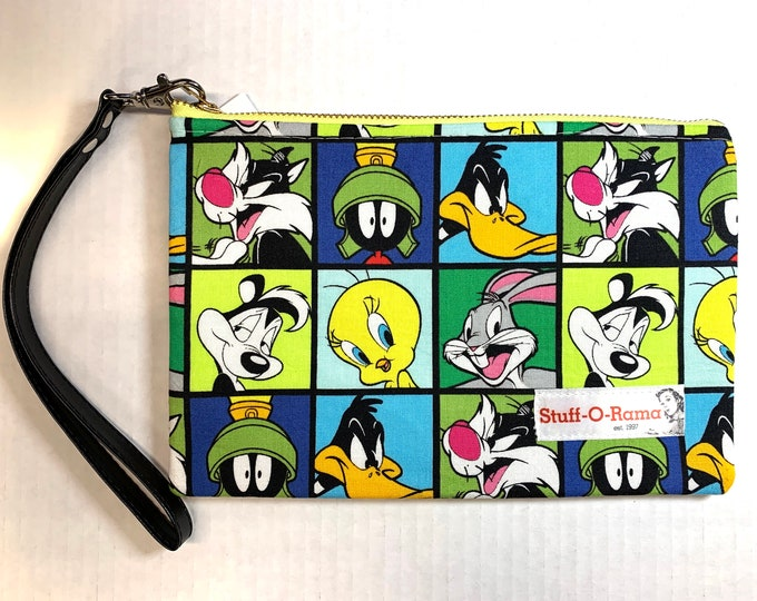 Wristlet Zipper Pouch Clutch Purse - Looney Tunes Squares