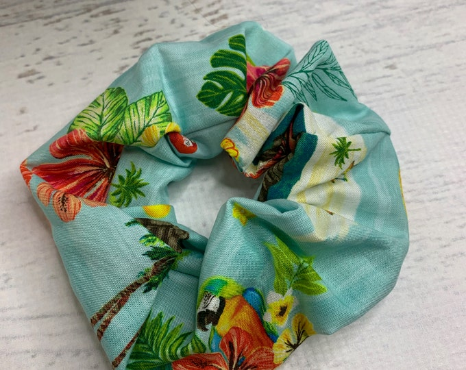 Tropical Island Parrots - Elastic Hair Tie - Fabric - Wide Width - Oversize - Scrunchie style - Disneybound - MCM - Retro - Vintage - Tiki