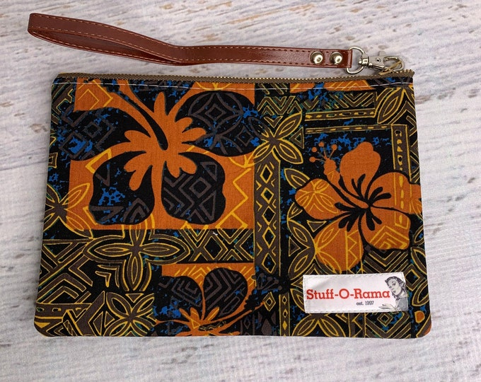 Tapa Cloth - Black, Brown, Orange & Navy - Hawaiian Aloha Print - Clutch Wallet Wristlet