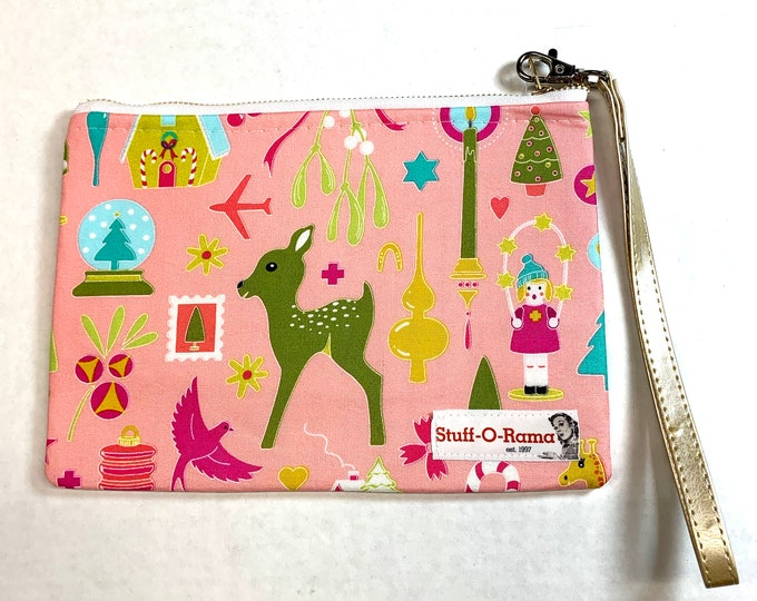 Retro Vintage Christmas Ornaments - Pink - Clutch Wallet Wristlet