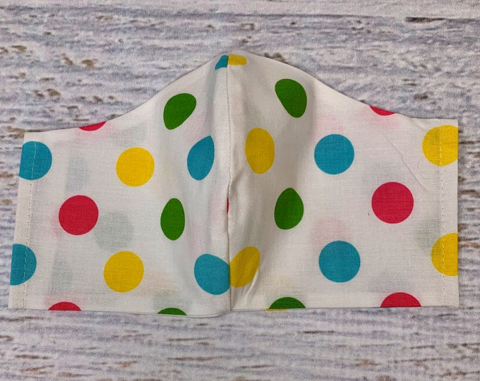 Rock the Dots - Pastel - Face Mask Coverings - 100% Cotton - Washable With Filter Pockets - Nose Wire - Ties or Elastic