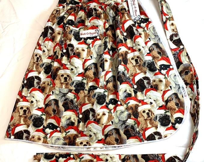 Half Apron - Vintage Pin Up Skirt Style - Christmas Dogs Wearing Santa Hats