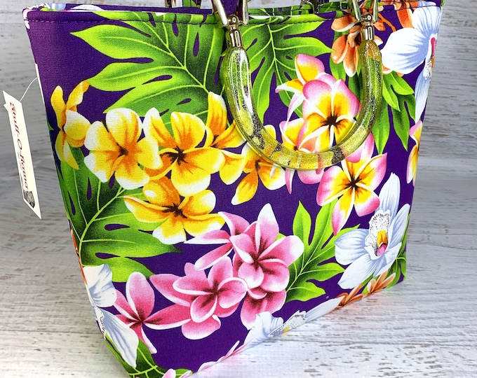 Purple - Orchids Plumeria Frangipani - Tote Bag - Purse - Handbag - Crossbody - Canvas - Tiki - MCM - Aloha Print - Hawaiian - Tropical