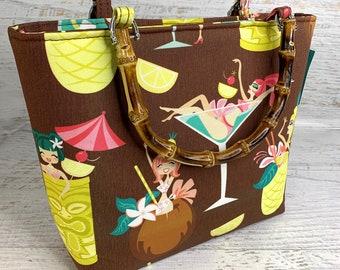 Tiki Drink Girls - Tote Bag - Purse - Crossbody Option - Handbag - Tiki - Hawaiian - Aloha Print - Pink Owlet