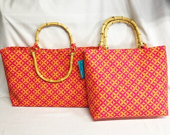 Handbag - Plumeria Tapa Cloth - Hot Pink Orange Canvas