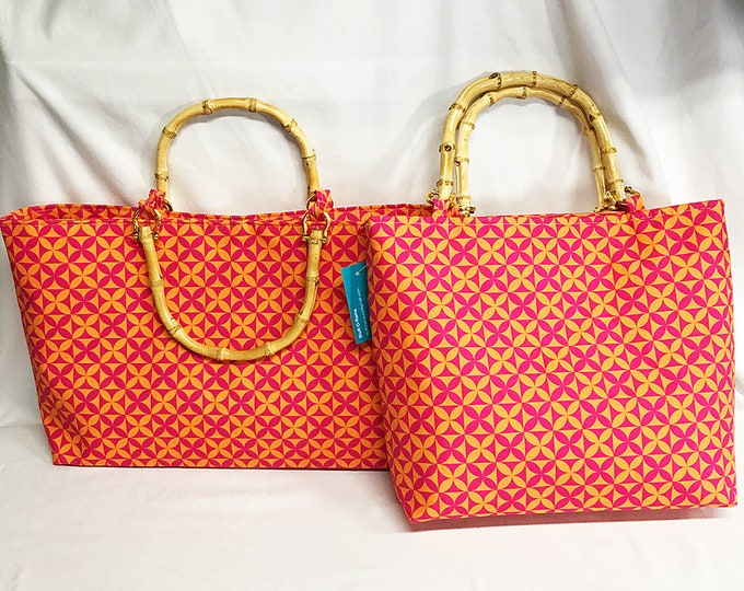 Handbag - Plumeria Tapa Cloth - Hot Pink Orange Canvas