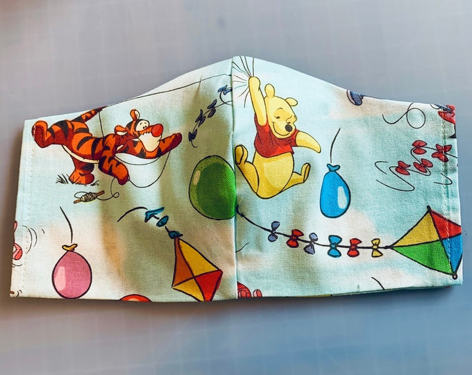 Winnie the Pooh Blustery Day Characters - Face Masks - 100% Cotton - Washable With Filter Pockets - Nose Wire
