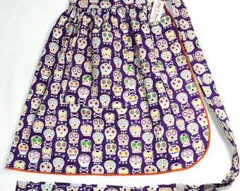 Half Apron - Vintage Pin Up Skirt Style - Sugar Skulls Purple