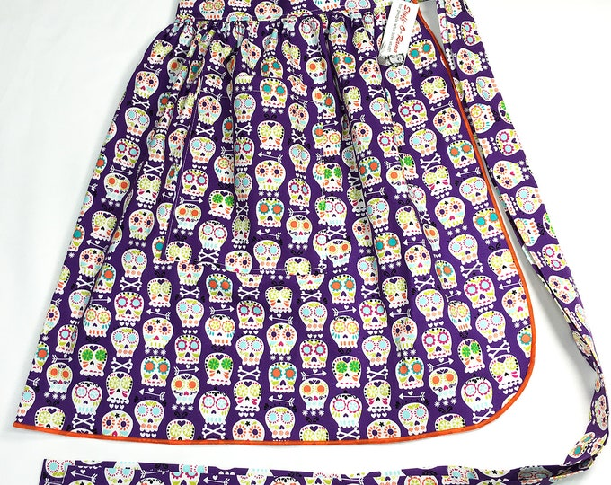 Half Apron - Vintage Pin Up Skirt Style - Sugar Skulls Purple
