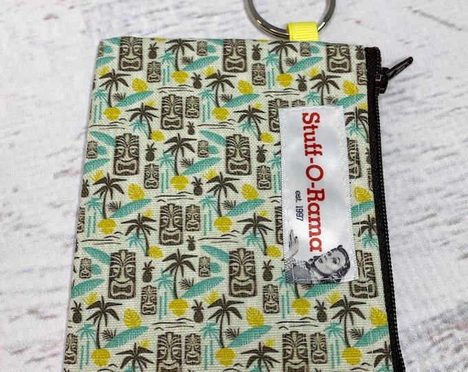Island Tiki - Cotton Canvas - Coin Purse - Keychain - Wallet - Key Fob - Key Ring - Aloha Print - Hawaiian Print