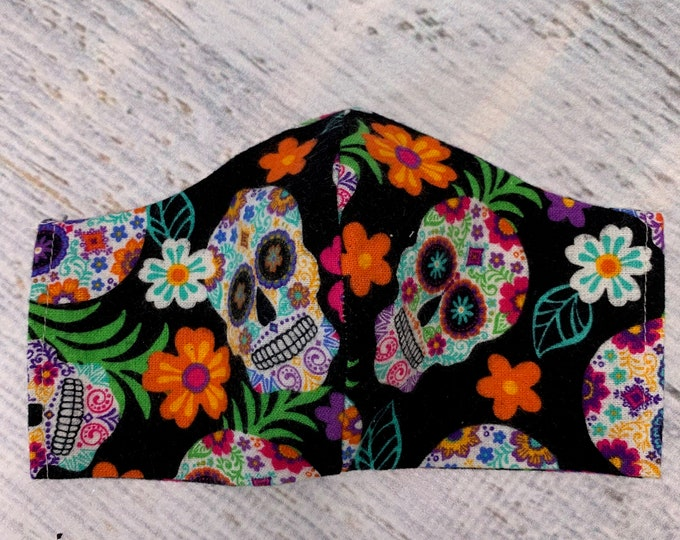 FLANNEL Face Mask Coverings - Sugar Skulls - 100% Cotton - Washable With Filter Pockets - Nose Wire - Ties or Elastic